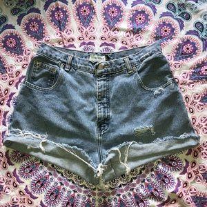 Pants - High waisted denim shorts distressed/frayed